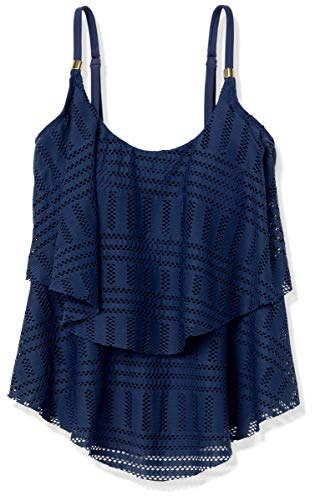 24th & Ocean Women's 2-Tiered Ruffle Tankini Swimsuit Top, Navy/Crochet Away, Small