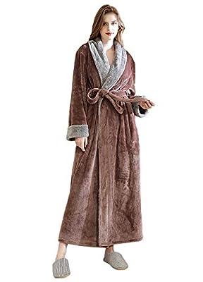 Ladies Bathrobe Soft Plush Warm Flannel Spa Long Bath Robe for Women Sleepwear Winter