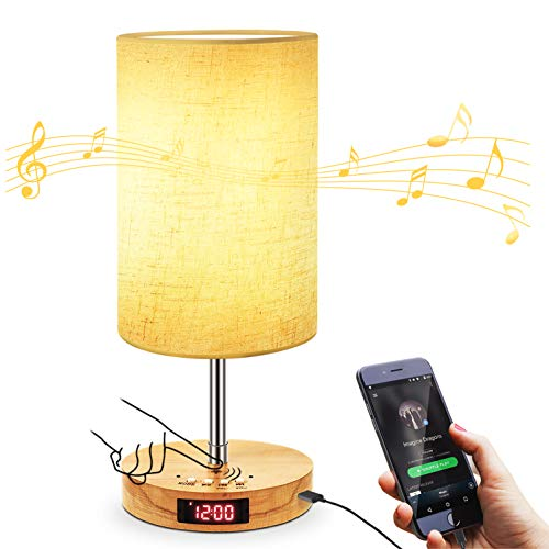 USB Touch Control Music Table Lamp,Stepless Dimming Bedside Lamp with Wireless Speaker and USB Charging Port and Alarm Clock,Solid Wood Base Modern Nightstand Lamp for Bedroom Living Room,LED included