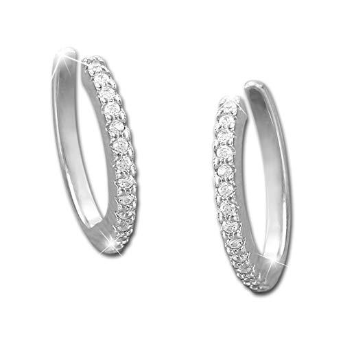 SilberDream weiß Ear Cuff Ohrringe Zirkonia 925 Silber Damen Ohrklemmen GSO471W Silber Ohrklemme