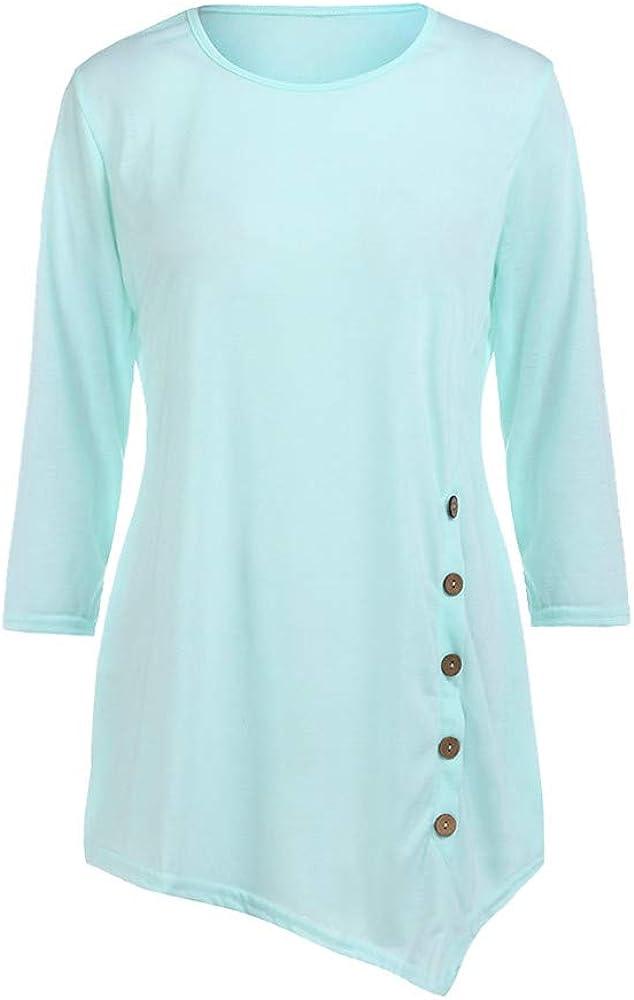 POTO Sweatshirt for Women Teen Girls Asymmetrical Long Sleeve Tops Button Casual Pullover Tops Blouses