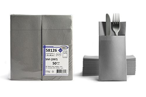 50 Airlaid Besteckservietten fertig gefaltete Servietten mit Schlitz 40x40 cm Stoffähnlich 1/8 Falz Premium Qualität Bestecktasche Hochwertig Stoffoptik Grau