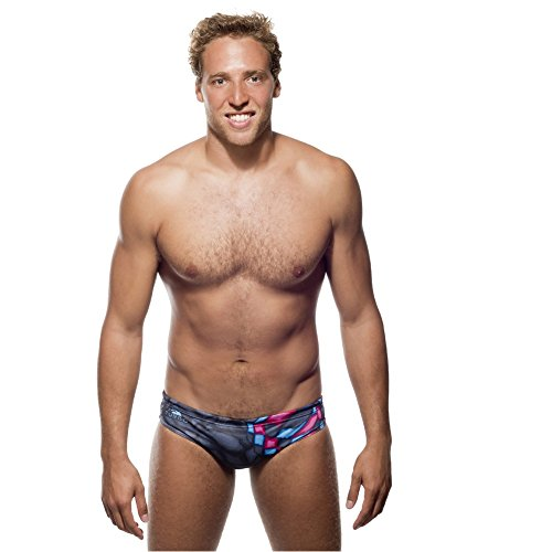 Turbo - Costume da bagno Crystal Grigio/Nero Slip di Waterpolo competizione nuoto e triathlon grigio XL