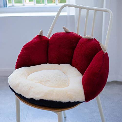 YYGQING 50 * 43 * 26cm詰めカラフルな猫足ファジーぬいぐるみソファシートクッション動物屋内床椅子枕冬の暖かい ぬいぐるみ (Color : Wine Red)