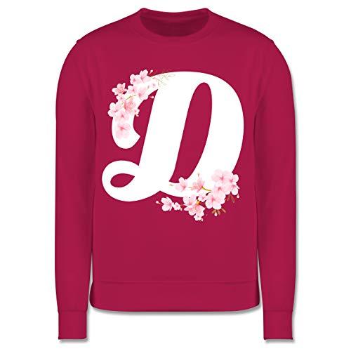 Shirtracer Anfangsbuchstaben Kind - Buchstabe D mit Kirschblüten - 152 (12/13 Jahre) - Fuchsia - Geschenk - JH030K - Kinder Pullover