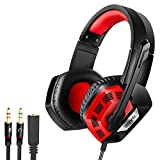 Gaming Headset,Sonku 3.5mm Wired Bass Stereo Noise Isolation Gaming Headphones with Microphone for PS4,Cellphone,Laptop Computer and so on-Volume Control(Black and Red)