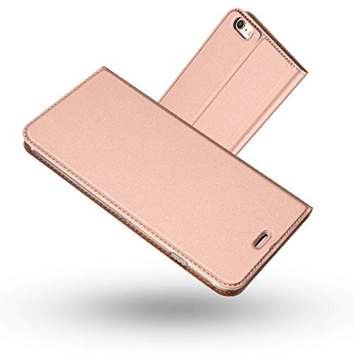 Radoo Funda iPhone 6 Plus,Funda iPhone 6S Plus, Slim Case de Estilo Billetera Carcasa Libro de Cuero,PU Leather con TPU Case Interna Suave [Cierre Magnético] para iPhone 6 Plus / 6S Plus(Oro Rosa)