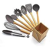 ZOUHANGDIAN Cooking Utensil Set, 9pcs Kitchen Utensils Set with Holder, Free Kitchen Utensils Stainless Steel Handles Kitchen Gadgets Tools Sets