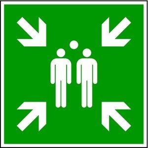 LEMAX® Schild Sammelstelle gemäß DIN 7010 Alu geprägt 300 x 300 mm (Fluchtweg, Sammelpunkt, Sammelplatz) praxisbewährt, wetterfest