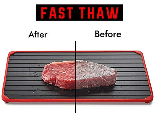 Defrosting Tray For Thawing Frozen Foods - Rapid Defroster Meat Tray With Silicone Borders - Defrost Meat Thaw Metal Plate