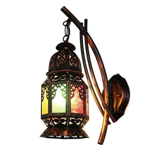 Wandleuchten Bunte Tradition Wandleuchte Laterne Marokko Metall Restaurant Dekoration Scocne Mittelalterlichen Glasschirm Wandleuchte E27 Cafe Bar Wand Dekorative Beleuchtung