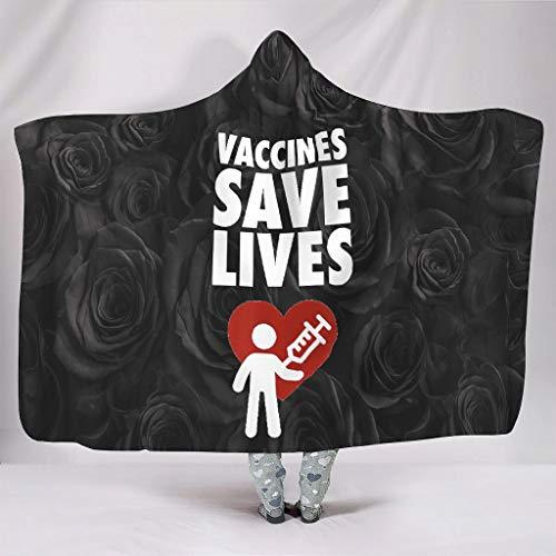 Manta con capucha para vacunas, salva vidas, con patrones personalizados, tamaño grande, suave, para habitaciones con aire acondicionado, regalo blanco de 50 x 60 pulgadas