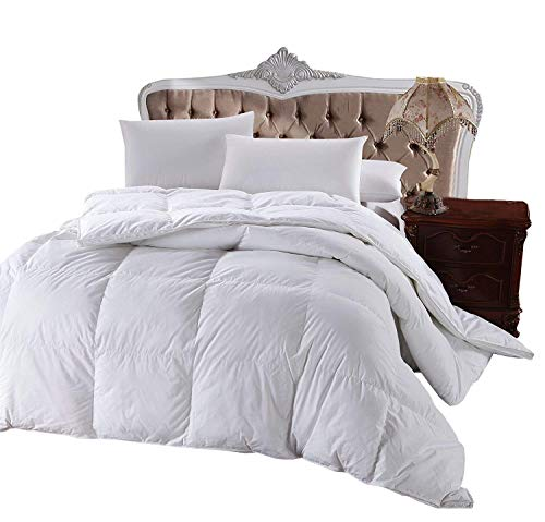 Royal Hotel 300 Thread Count King Size Goose Down Alternative Comforter, Overfilled Comforter, Duvet Insert 100% Cotton Shell - 750FP - 86Oz - Solid White, King