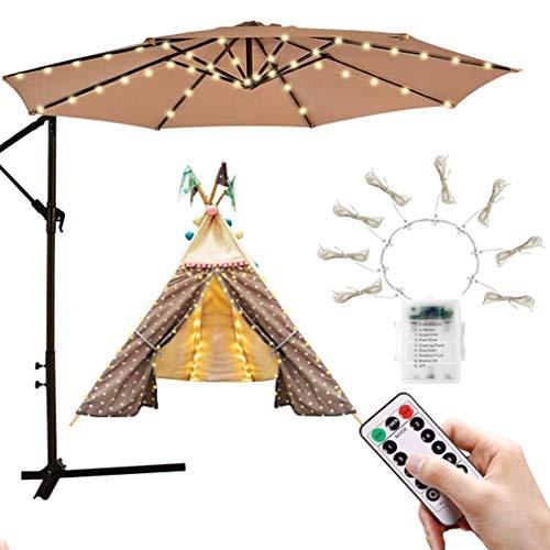 Lichterkette für Sonnenschirm, Sonnenschirm Led 8 Helligkeitsmodi Austauschbare Batterie, 8 Regenschirmknochen 104 Led, Sonnenschirm Mit Led für Die Umweltdekoration, Geeignet, Campingmarkt, Warmweiß