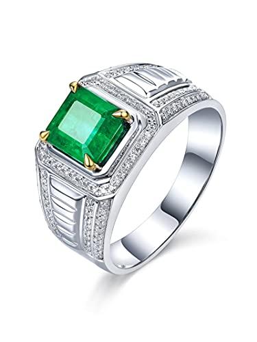 Amody Anillos para Hombre Oro 18K, Anillos de Matrimonio con Diamante y Esmeralda 1.5ct Tamaño 16