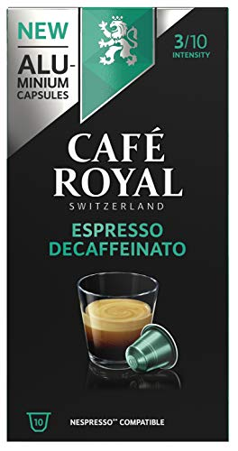 Café Royal Espresso Decaffeinato Nespresso (R)* 100 Compatible Aluminium Coffee Pods, Strength 3/10, 10x10 packs, 50 grams