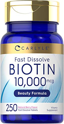 Biotin 10000mcg | 250 Fast Dissolve Tablets | Max Strength | Vegetarian, Non-GMO, Gluten Free Supplement | by Carlyle