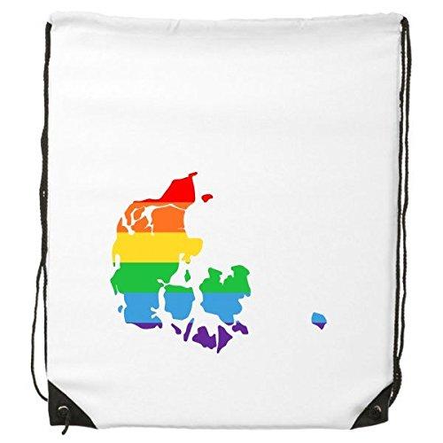 LGBT Rainbow Gay Lesbische Transgender Bisexuals Ondersteuning Denemarken Kaart Vlag Illustratie Trekkoord Rugzak Fijne Lijnen Winkelen Creatieve Handtas Schouder Milieu Polyester Tas