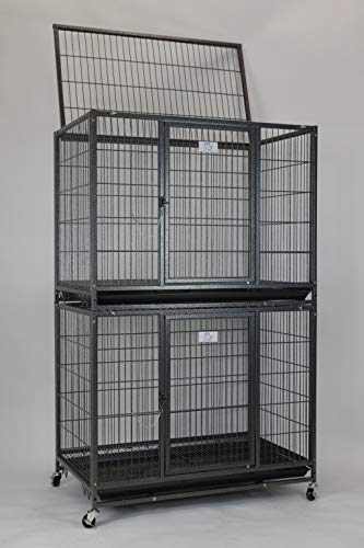 """Homey Pet New 37"""" Stackable Open Top Heavy Duty Dog Pet Cage Kennel w/Tray, Floor Grid, and Casters (2 Tiers) Categories Dog Supplies Top"""