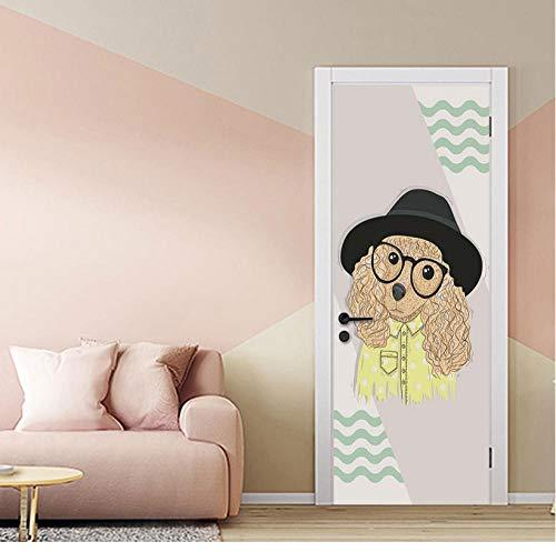 Wohnkultur sticker Scandinavische stijl poster 3d deur sticker Cartoon dier kunst afbeelding waterdicht behang voor kinderkamer foto's 77 * 200cm