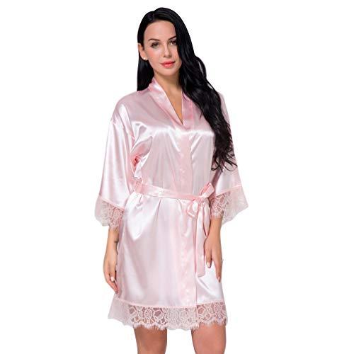 KESYOO robe feminino puro curto sedoso para madrinha de festa de renda cetim lingerie robe roupa de dormir, Rosa claro, S