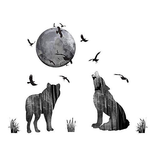 WandSticker4U- Wandtattoo WOLF Familie aus dem Wald I Wandbilder: 70x85 cm I Wandsticker Mond Vögel Wald-tiere Aufkleber I Wand Deko für Wohnzimmer Schlafzimmer Küche Garderobe Flur
