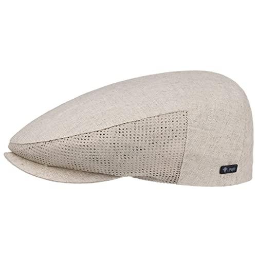 Lipodo Leinen Flatcap Beige Herren - Schirmmütze 60% Baumwolle, 40% Leinen - Made in Italy - Schiebermütze für Frühjahr/Sommer mit Mesh-Einsätzen - Sommermütze - Cap mit Netzfutter beige 58 cm