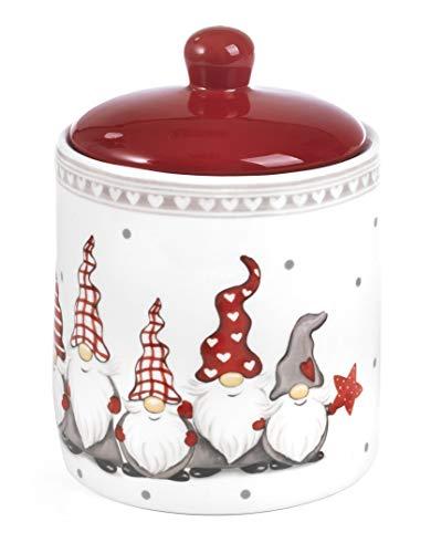 Paben Noel Biscottiera in Ceramica Smaltata con Gnomi a Rilievo Idea Regalo Natale cm. 17,5