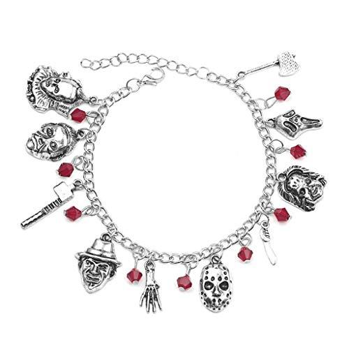 YU-HELLO_Horror Movie Charm Bracelet Ghost Chain Men Women Halloween Costume Jewelry Gift