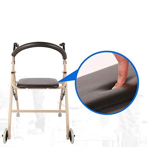 GEHHILFEAID Opvouwbare aluminium rollator met gevoerde zitting Lichte 4-wielige rollator met in hoogte verstelbare loophulp voor oudere mensen