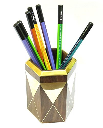 Affaires Wooden Pen Pencil Stand Holder (4 Inches) with Metal Triangle on It, Office Desk Organizer Gift for Christmas or Birthday W-40123