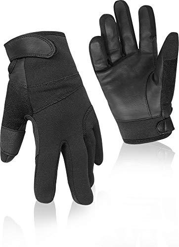 normani Neopren/Lederhandschuhe mit Kevlar Futter Farbe Schwarz Größe S