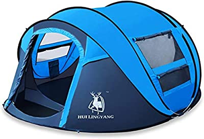 HUI LINGYANG 4 Person Easy Pop Up Tent-Automatic Setup Sun Shelter for Beach- Instant Family Tents for Camping,Hiking & Traveling (Blue)