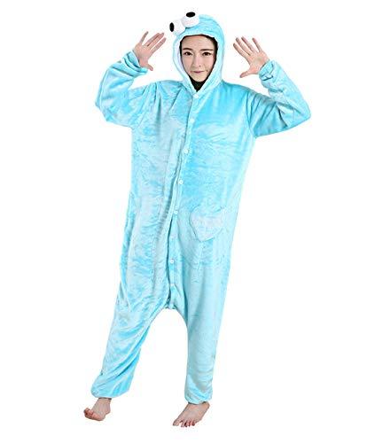 Yimidear Cosplay Pijamas, Unisexo Adulto Ropa de Dormir Traje de Dormir Disfraz de Animales Kigurumi Onesie (L, Cookie Monster)