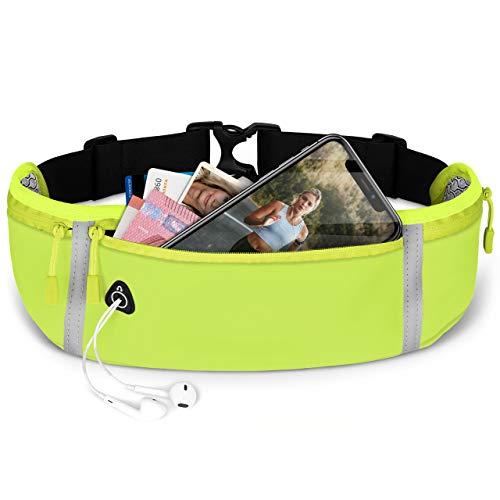 ONEFLOW® Premium Handy Laufgürtel für alle Vernee Handys | Handytasche Sport Handyhalter für Joggen, Laufen - Lauftasche Atmungsaktiv mit Reflektorstreifen Gürteltasche, Grün