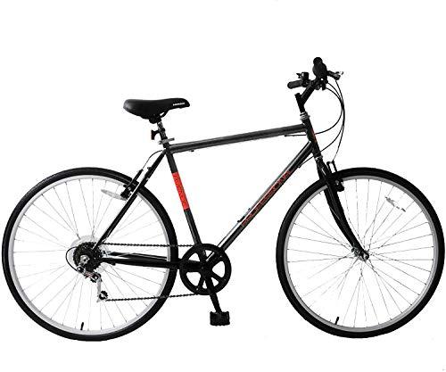 Professional Avenue Mens Hybrid Trekking Bike 700c Wheel 21' Frame Touring Bike 6 Speed Black Red