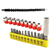 Right-angle Drill Bit Adapter Kit with Flexible Screwdriver Drill Bit Extension Rod + Cardan Shaft + 9-piece Sleeve Sleeve + 12-piece Head with Extension Rod 23pcs