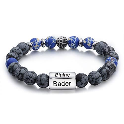 Jewelora Armband für Männer Personalisierte 4 Namen Perlen Armband Gravierte Armreif Paar Überraschung Festival Geschenk für die Familie (#BA-1)
