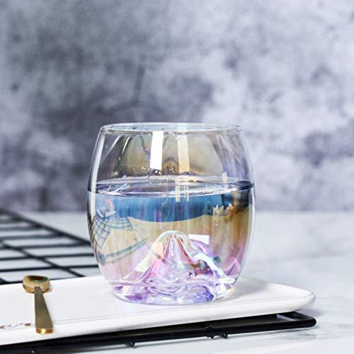 TINKSKY 虹色 おしゃれ ガラスカップ 厚くした透明なクリスタルガラスカップ 水、カクテル、ビール、ジュース用 1個
