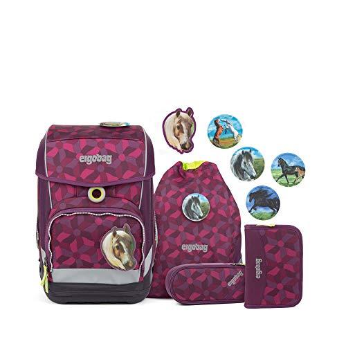 Ergobag cubo Light NachtschwärmBär, ergonomischer Schulrucksack, extra leicht, Set 5-teilig, 19 Liter, 780 g, Lila