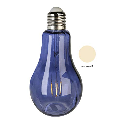 Moderne en exclusieve decoratieve lamp gloeilamp van glas blauw hoogte 22 cm