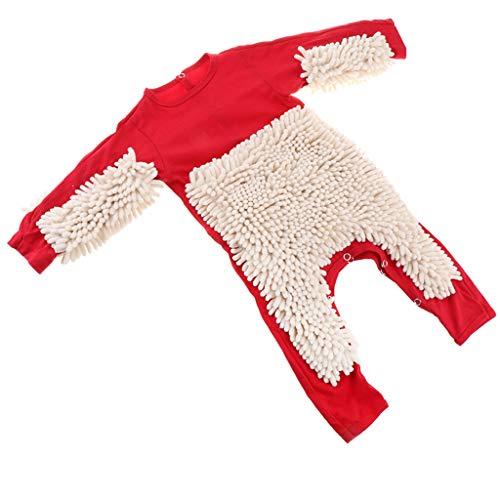 Baby Kleidung Wischmop Strampler Reinigungsmop Overall Mädchen Jungen Jumpsuit Babykleidung zum Krabbeln - Rot + Beige, 80 cm