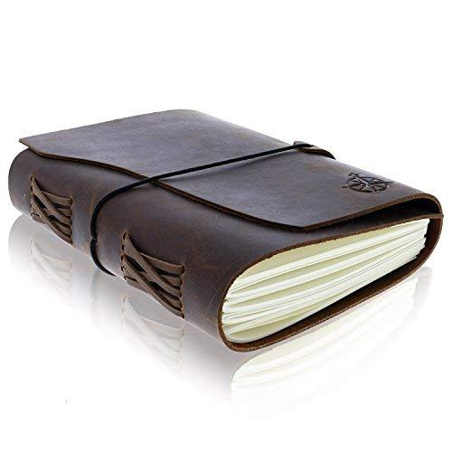 Diario Encuadernado de Cuero - Diario de Viaje Hecho a Mano | Ideal para Escribir, Dibujos, Bocetos, álbumes de Recortes, Viajeros | Leather Bound Journal | Páginas en Blanco 19x14cm