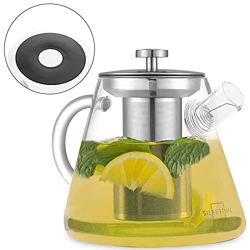 SILBERTHAL Tetera Cristal para induccion 1,5 litros | Tetera vidrio para te con Tapa de Acero Inoxidable | Tea pot