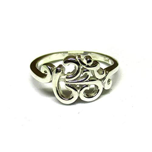 925 Sterling Silver Buddhist Hindu Om Ohm Aum Ring (P)