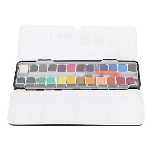 24 kleuren aquarel pigment schilderset draagbare kunst tekening accessoires solide aquarel schilderset draagbare kunst tekening accessoires met ijzeren doos