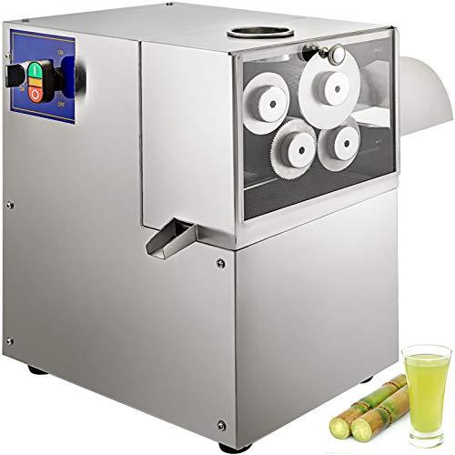 BuoQu Zuckerrohrpresse 750W Zuckerrohrmaschine Saftpresse elektrisch mit 4 Walzen Edelstahl Zerkleinerer für Zuckerrohr Saft