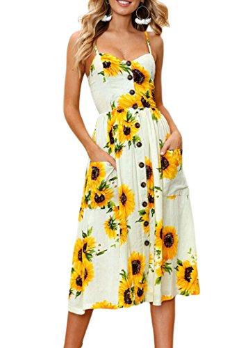 Issza - Vestido de mujer de flores, sin mangas, escote en V, para playa o cóctel