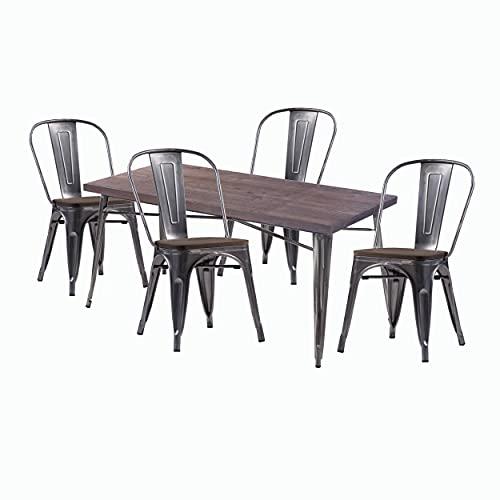 Juego 1 Mesa y 4 sillas, Estructura de Metal Gris Aluminio, Tablero y Asiento de Madera Oscura Dim.cm.80x80x76h