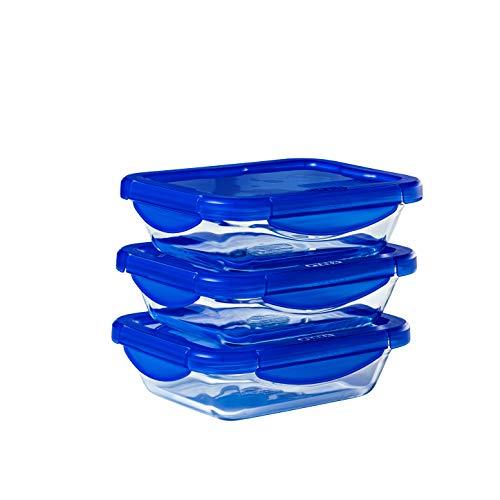 Pyrex® - Cook & Go - Lot de 3 boîtes de conservation rectangulaires en verre avec couvercles hermétiques et étanches - 20x15cm - 0.8L - Sans BPA